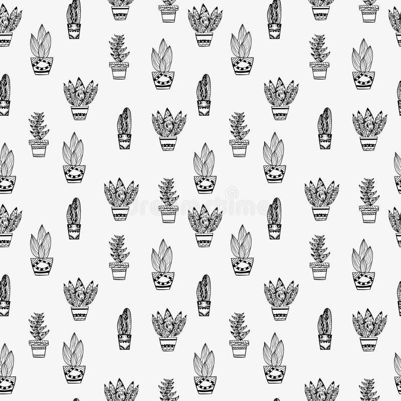 Modell av tropiska växter i krukazentanglestil vektor illustrationer
