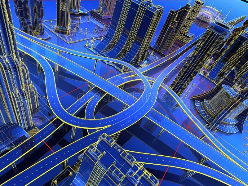 Modell av vägarna fotografering för bildbyråer