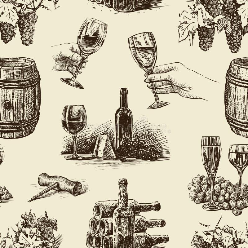 Modell av vin stock illustrationer