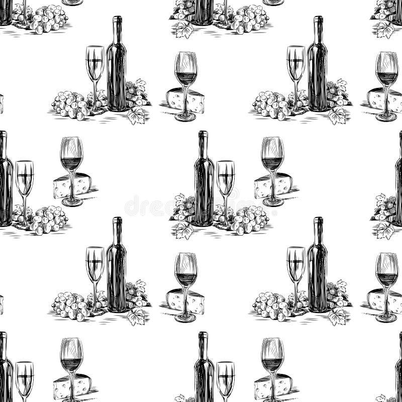 Modell av vinflaskorna med den vinexponeringsglas, druvan och ost stock illustrationer