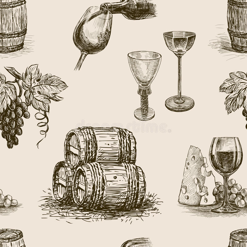 Modell av winemaking stock illustrationer