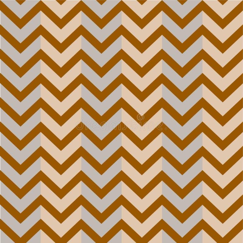 Modell bruna Grey Background Zigzag royaltyfri illustrationer