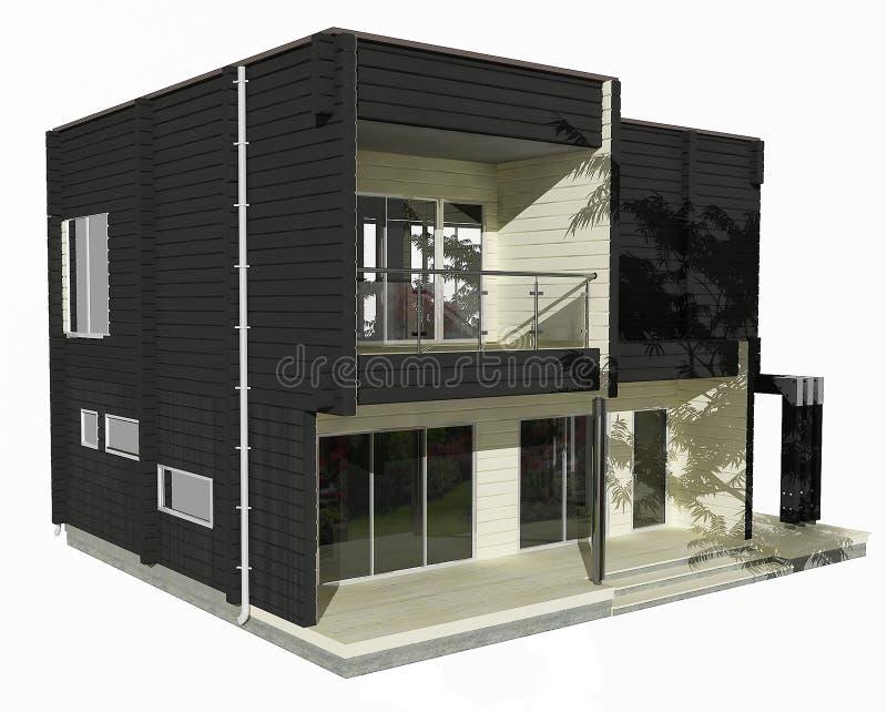 modell 3d av det svartvita trähuset på en vit bakgrund. stock illustrationer