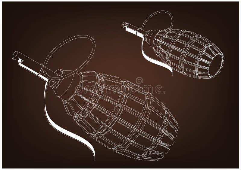 modell 3d av en granat stock illustrationer