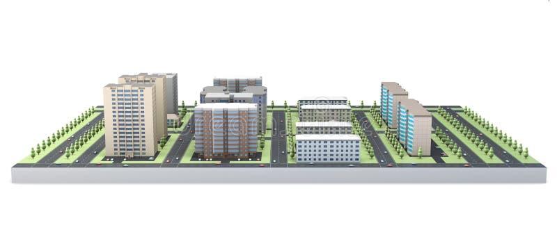 modell 3D av hus som isoleras på vit bakgrund stock illustrationer
