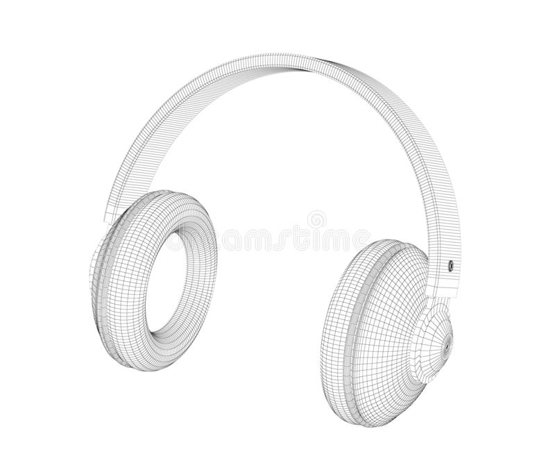 modell 3D av stor över-öra hörlurar stock illustrationer
