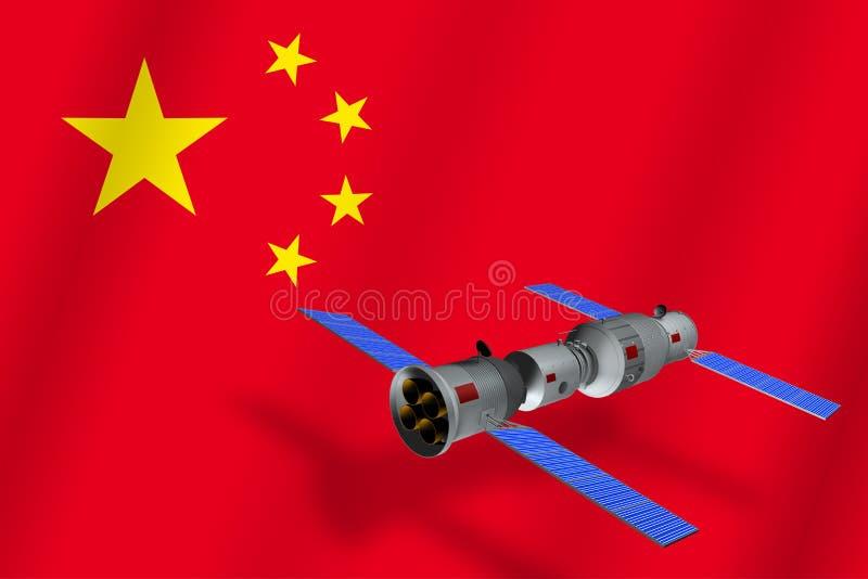 Modell 3D der China-` s Tiangong-1 Raumstation, welche die Planet Erde mit der Flagge von China im Hintergrund in Umlauf bringt vektor abbildung