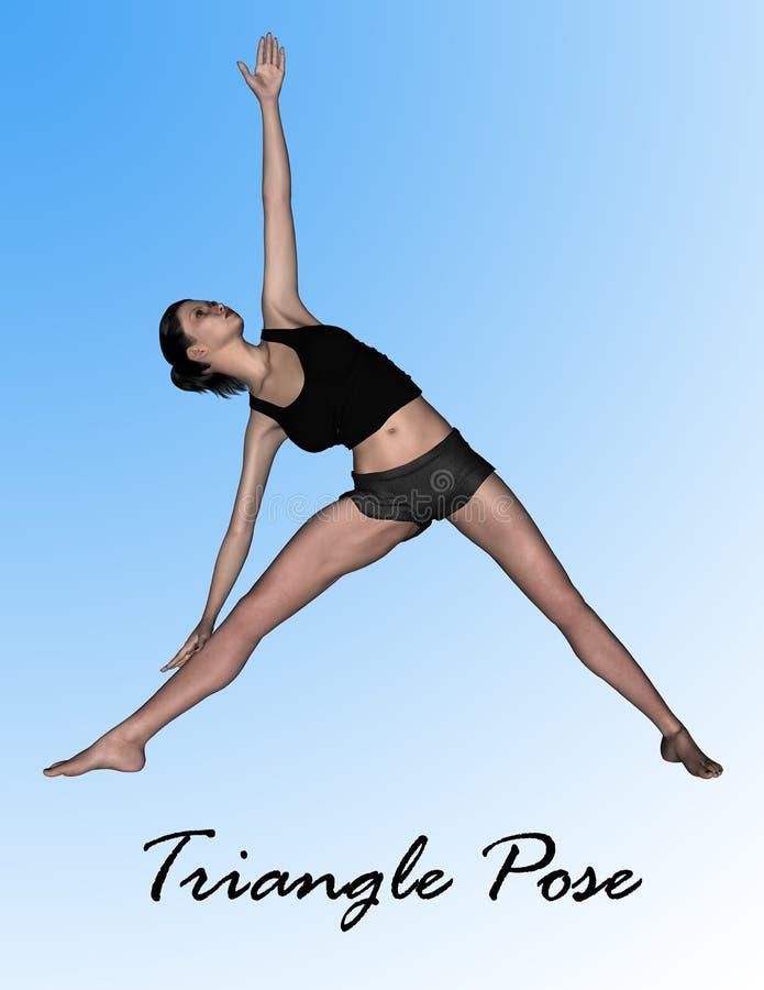 Modell 3d in der Yoga-Haltung - Dreieck-Haltung stockbild