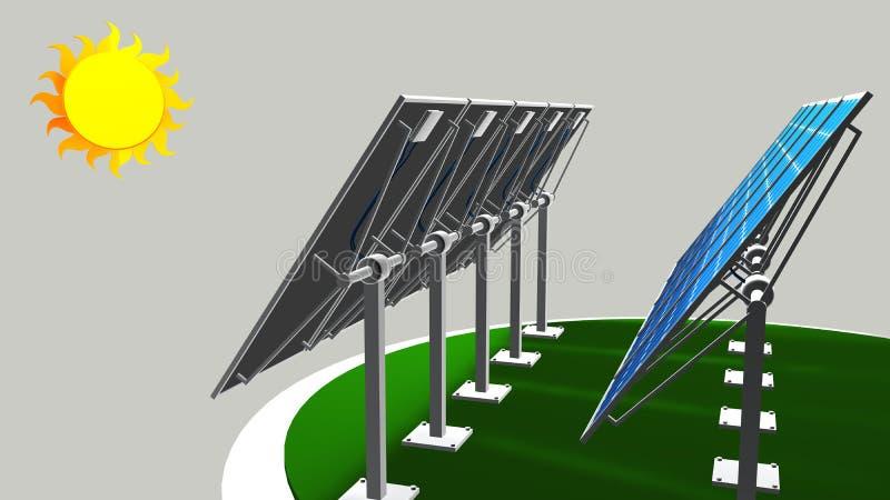 Modell 3D einer Gruppe Sonnenkollektoren, die dem Weg der Sonne mit weißem Hintergrund - erneuerbare Energie folgen vektor abbildung
