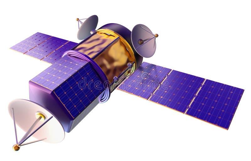 Modell 3D eines künstlichen Satelliten der Erde lizenzfreie abbildung