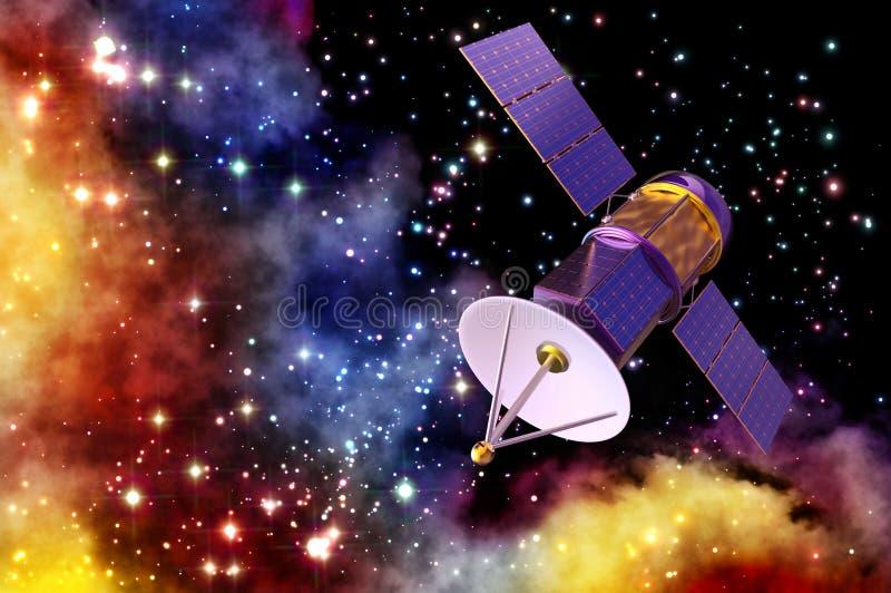 Modell 3D eines künstlichen Satelliten der Erde stock abbildung