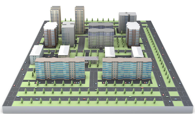 Modell 3D eines Wohngebiets stock abbildung