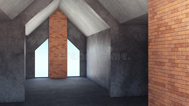 modell 3D. Modern lyxig hyreshus. Natthimmel med massor av stj?rnor. Minsta begrepp. Hem- dekor. illustration 3d vektor illustrationer