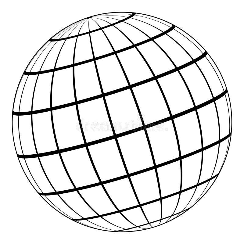 Modell der Kugel 3D der Erde oder des Planeten, Modell des himmlischen Bereichs mit beigeordnetem Gitter lizenzfreie abbildung