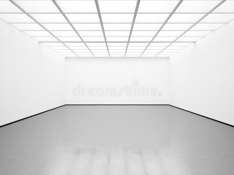 Modell der leeren weißen Galerie 3d übertragen lizenzfreie stockfotos