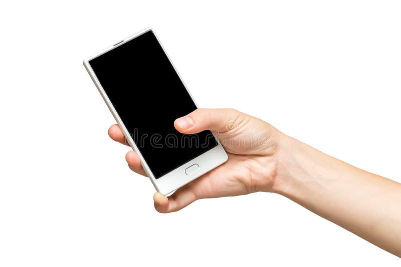 Modell der weiblichen Hand frameless Handy mit leerem Bildschirm halten lizenzfreies stockbild