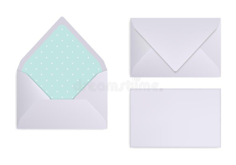 Modell des hellgrauen, weißen oder silbernen Umschlags Vorderansicht-, geschlossene und geöffnete Rückseite stock abbildung