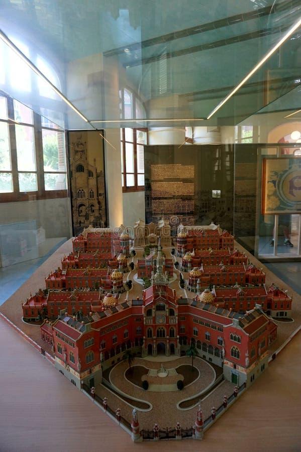 Modell des Krankenhauses im Museum von Sant Pau in Barcelona lizenzfreie stockfotos
