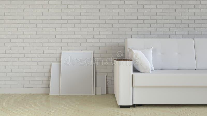 Modell des Plakat- oder Fotorahmens im Innenraum lizenzfreie abbildung
