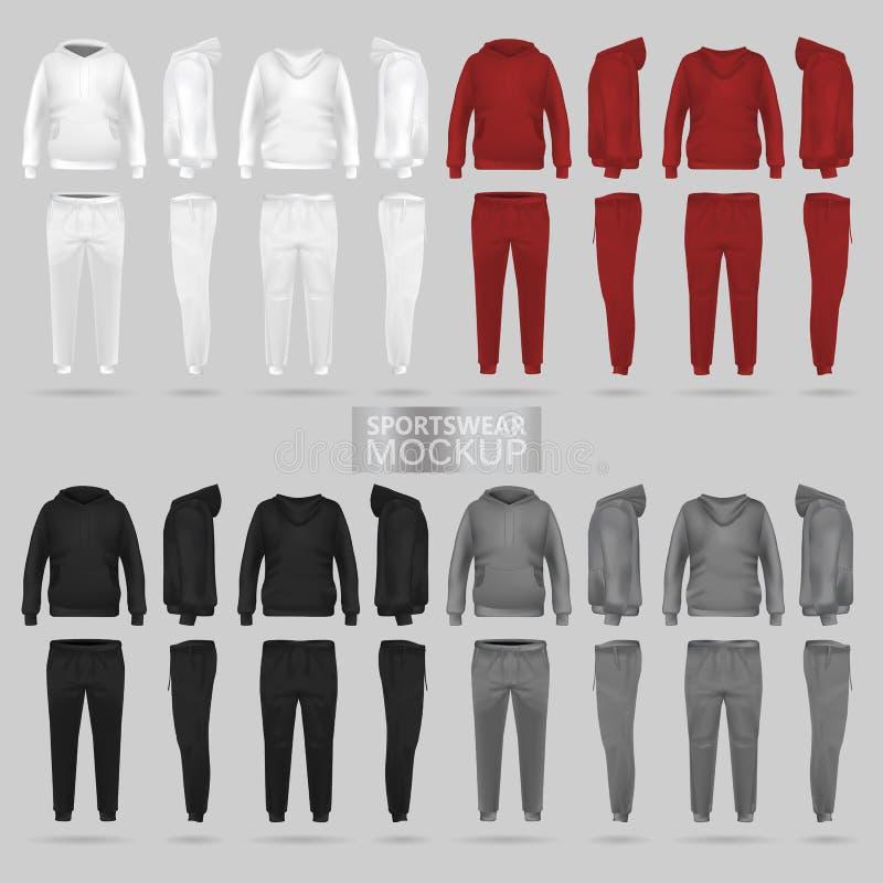 Modell des Sportkleidungshoodie und -hose in vier Maßen lizenzfreie abbildung