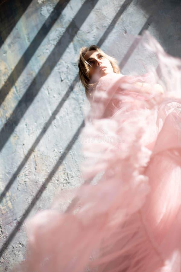 Modell in einem rosa Gl?ttungskleid stockfotografie