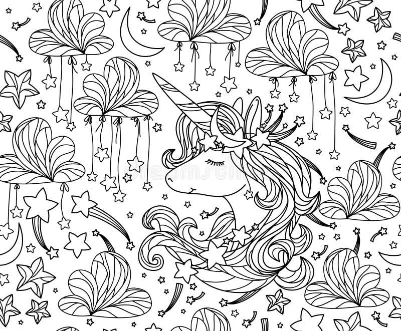 Modell, enhörning och stjärnor för vektor sömlös stock illustrationer