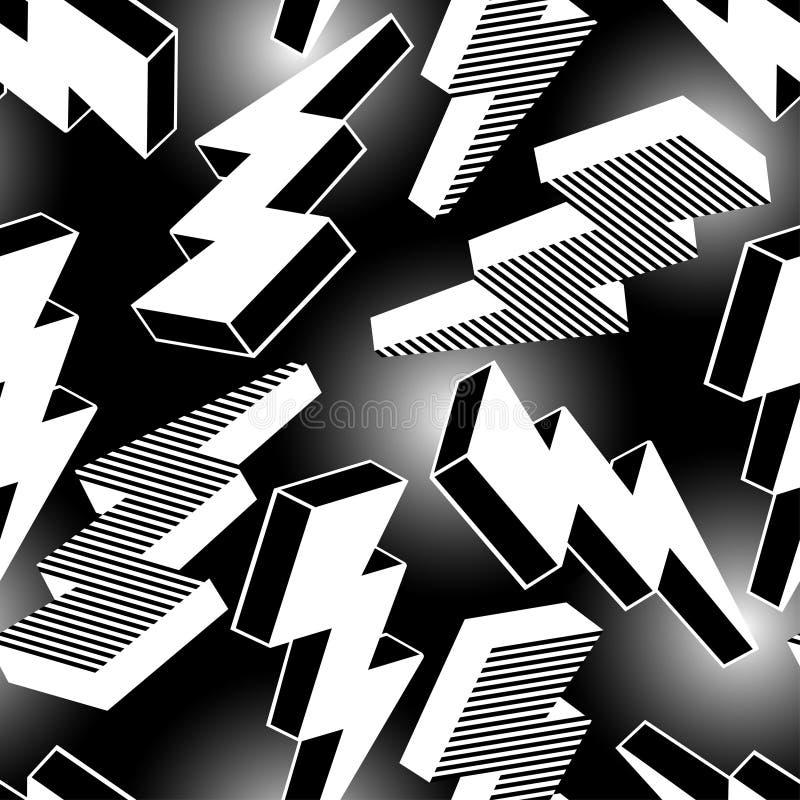 Modell för abstrakt blixt för vit sömlös stock illustrationer