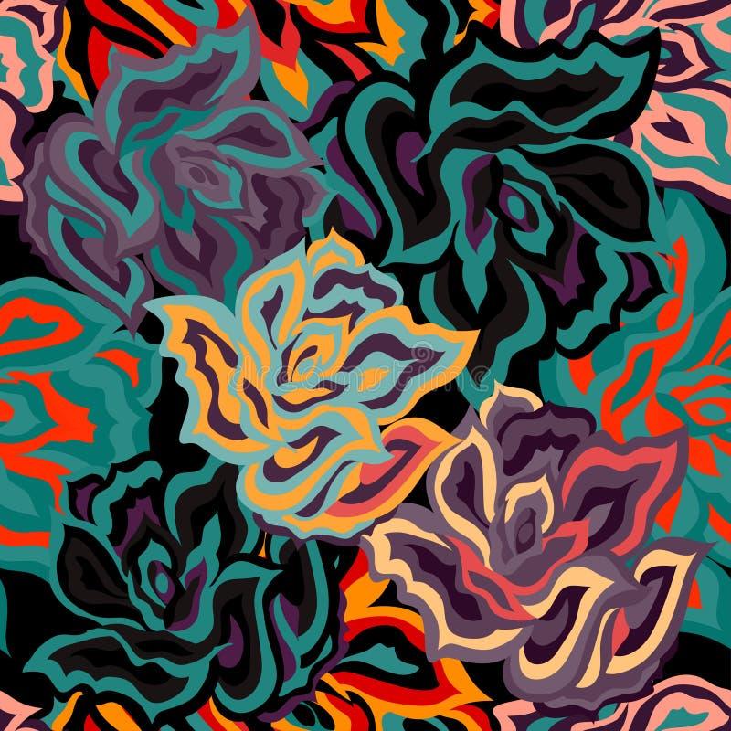 Modell för abstrakta kulöra rosor för mörker sömlös stock illustrationer