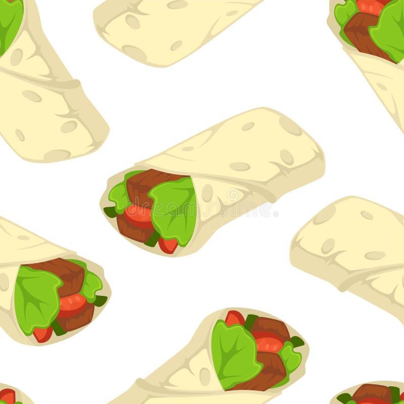 Modell för arabisk vektor för snabbmat för Shaverma kebab sömlös royaltyfri illustrationer