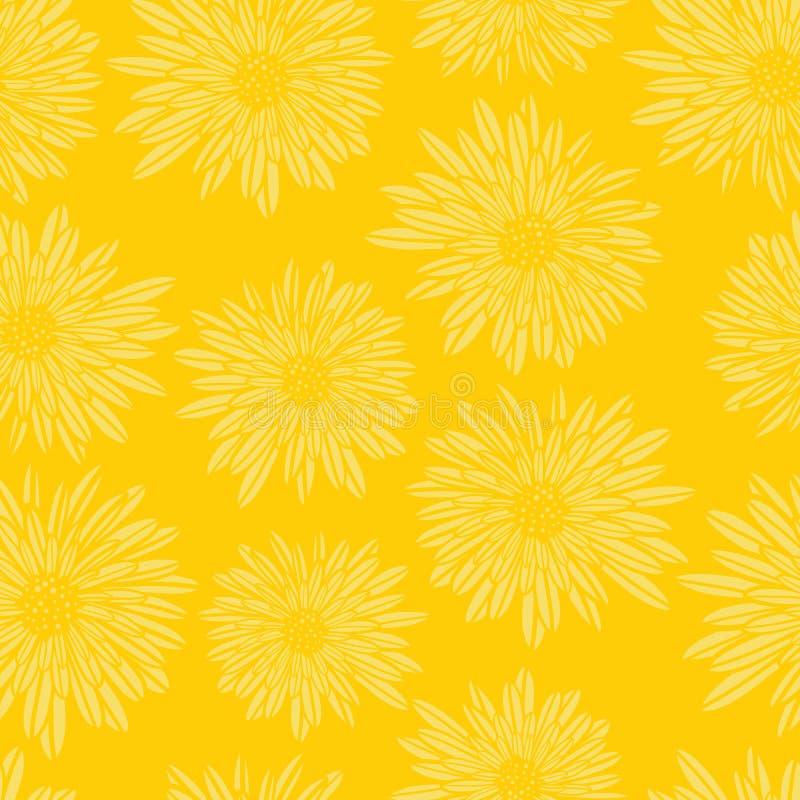 Modell för asterDahlia Flowers gul sömlös vektor Blom- subtil bakgrund Utdragen modern kvinnlig konst för hand för stock illustrationer