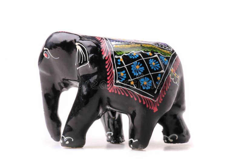 Modell för attraktion för svart för Matte för Handemade träelefantstatyett som royaltyfria foton