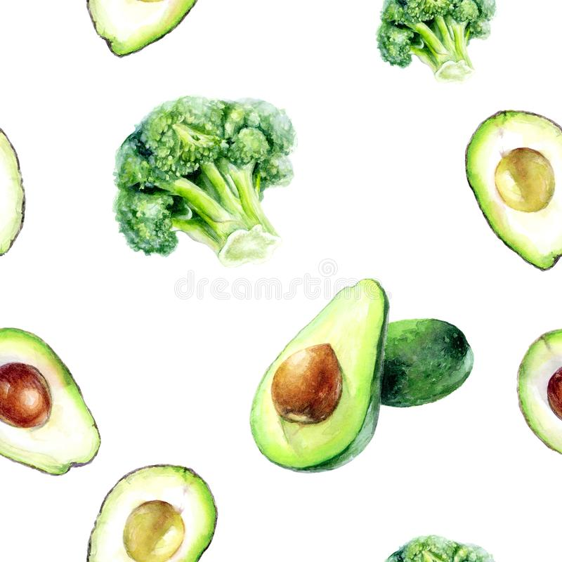 Modell för avokado för vattenfärghand utdragen isolerad sömlös broccoli royaltyfri illustrationer
