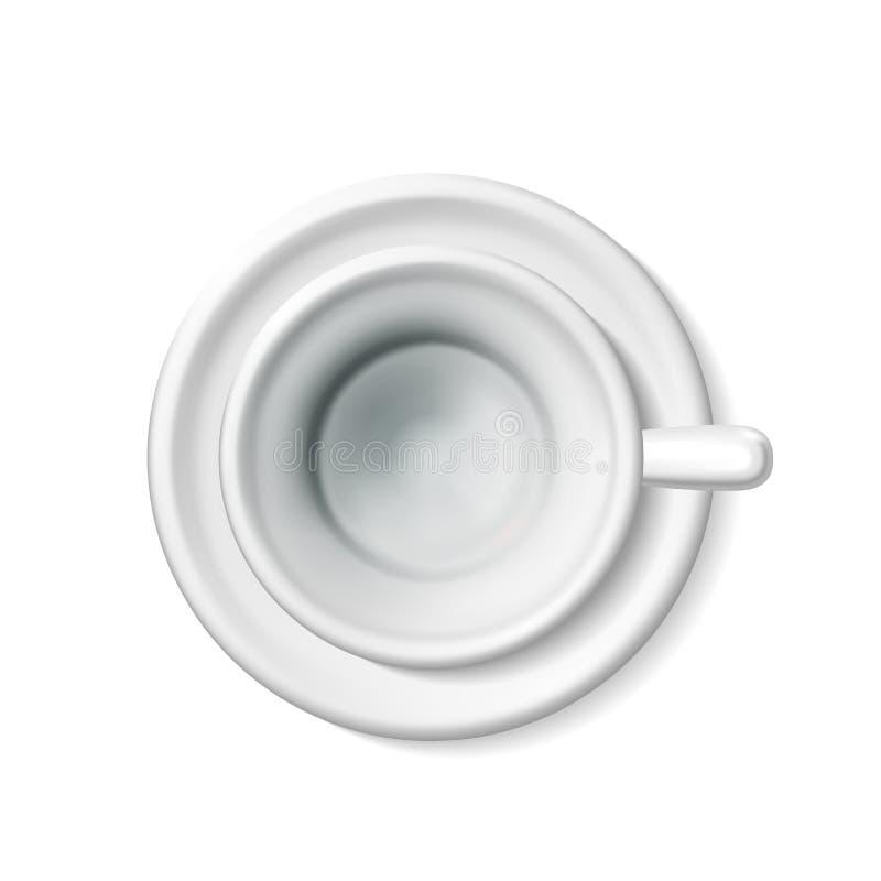Modell för bästa sikt av en tom vit kopp för realistiskt mellanrum för kaffe, te Illustrationen för teservisen 3d av rånar på ett royaltyfri illustrationer