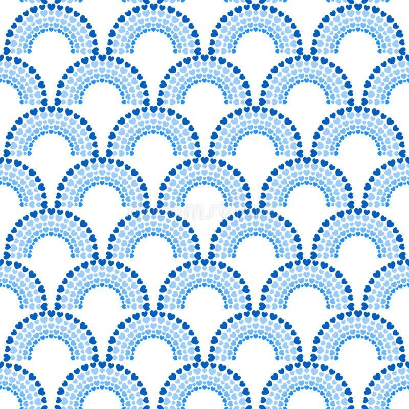 Modell för båge för prickhjärtaregnbåge sömlös vektor illustrationer