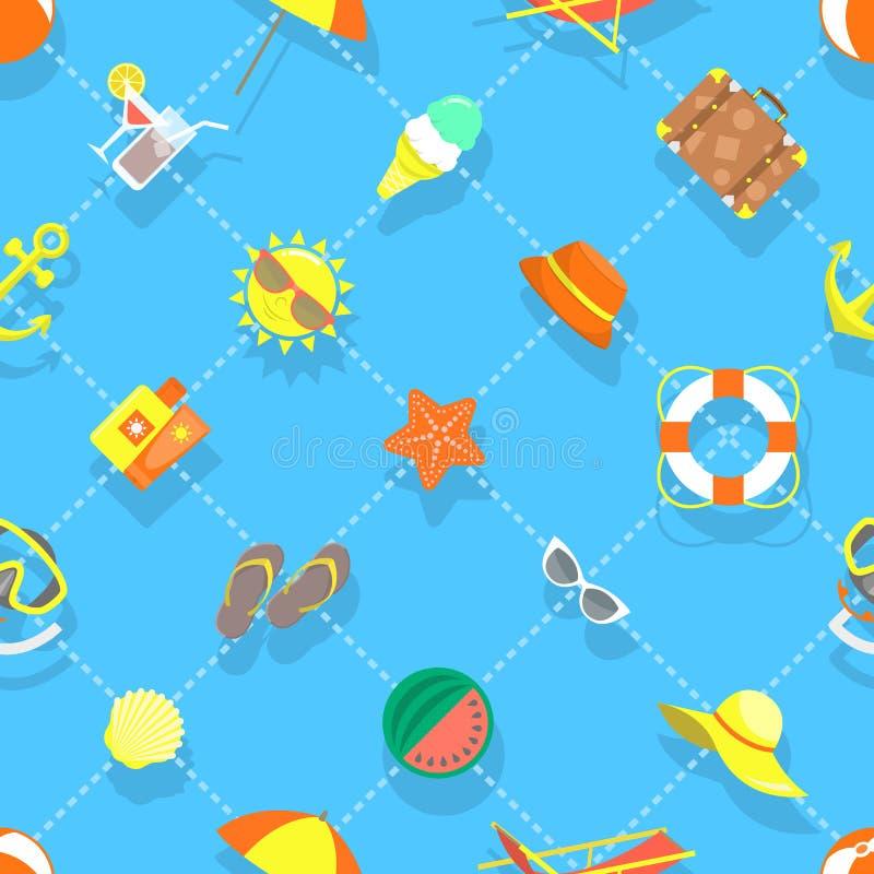 Modell för bakgrund för plana för sommarsemester symboler för strand sömlös stock illustrationer