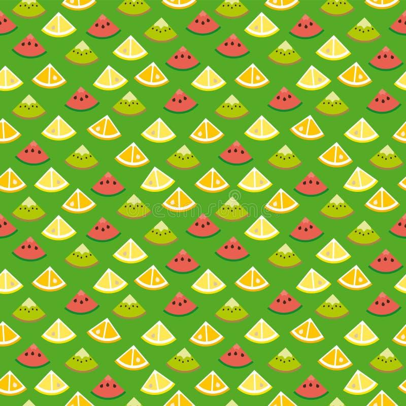 Modell för bakgrund för sömlösa fruktskivor grön royaltyfri illustrationer