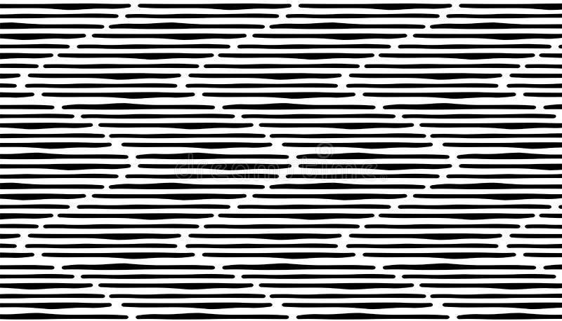 Modell för band för abstrakt handattraktion sömlös svarta linjer vektor illustrationer