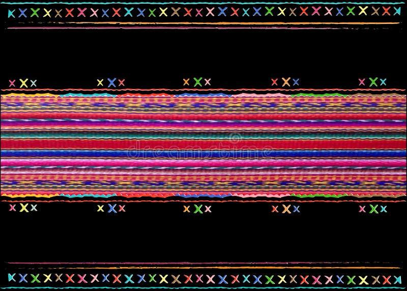 Modell för band för flerfärgad stam- Navajovektor sömlös tryck för konst för aztecinfallabstrakt begrepp geometriskt etnisk perua stock illustrationer
