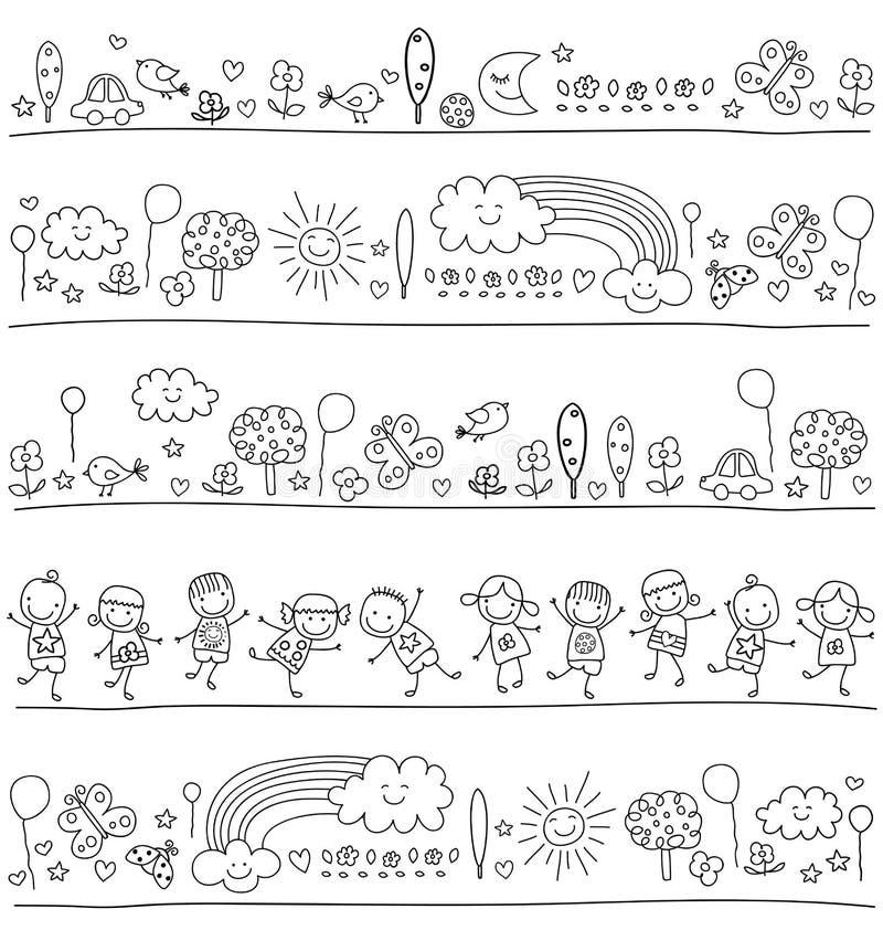 Modell för barn med gulliga naturbeståndsdelar vektor illustrationer