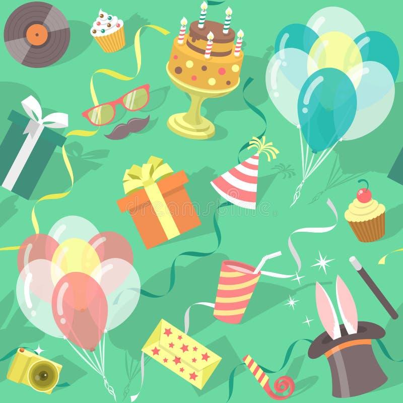 Modell för beröm för födelsedagparti sömlös royaltyfri illustrationer