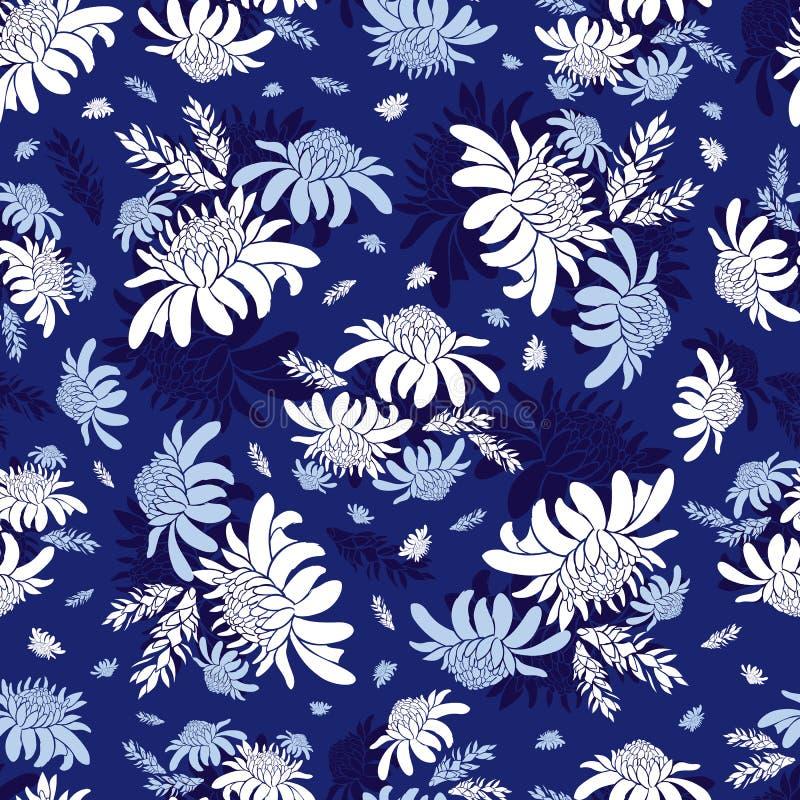 Modell för blå blomma för fackla för vektor tropisk blom- sömlös ljust rödbrun Passande för textil, gåvasjal och tapet royaltyfri illustrationer