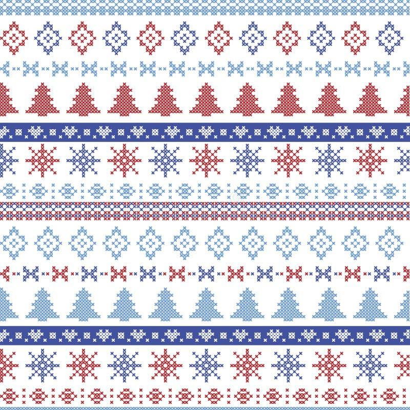 Modell för blå och röd jul för mörker och för ljus - nordisk med snöflingor, träd, xmas-träd och dekorativa prydnader i scandinav vektor illustrationer