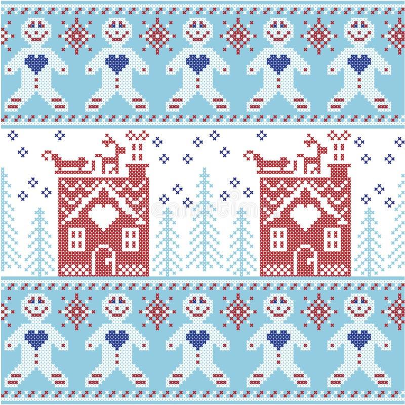 Modell för blå och röd skandinavisk nordisk jul för ljus - blått, mörker - sömlös med pepparkakamannen, stjärnor, snöflingor, lju vektor illustrationer
