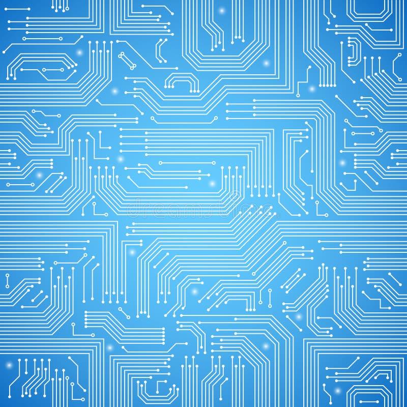 Modell för blått för strömkretsbräde sömlös stock illustrationer