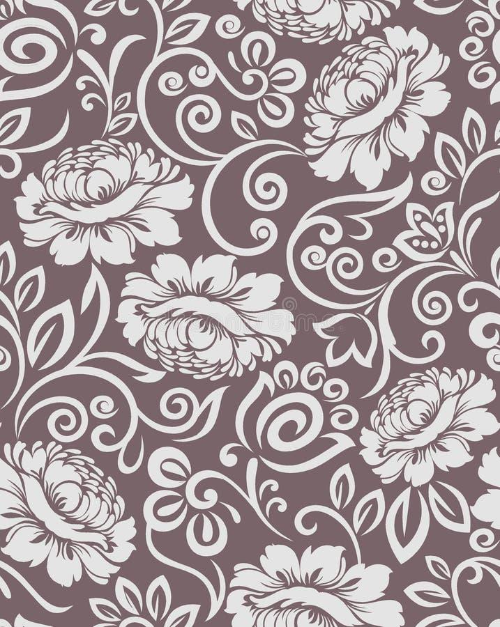 Modell för blom- design för sömlös tappning damast royaltyfri illustrationer