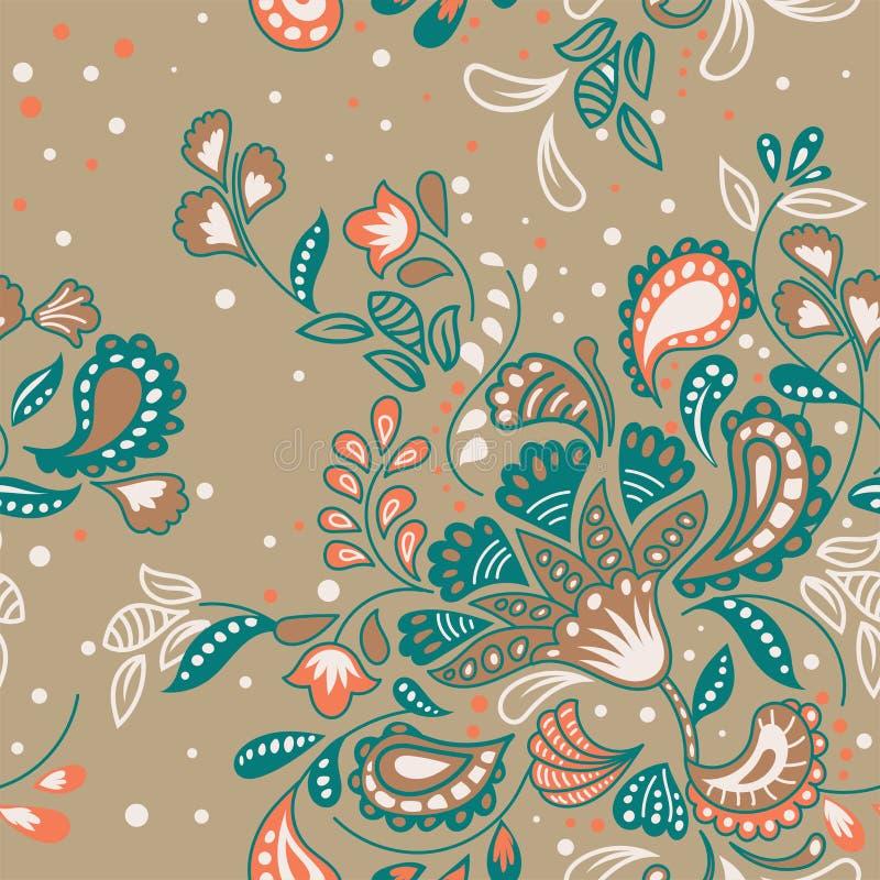 Modell för blom- prydnad för batik för hand utdragen sömlös royaltyfri illustrationer