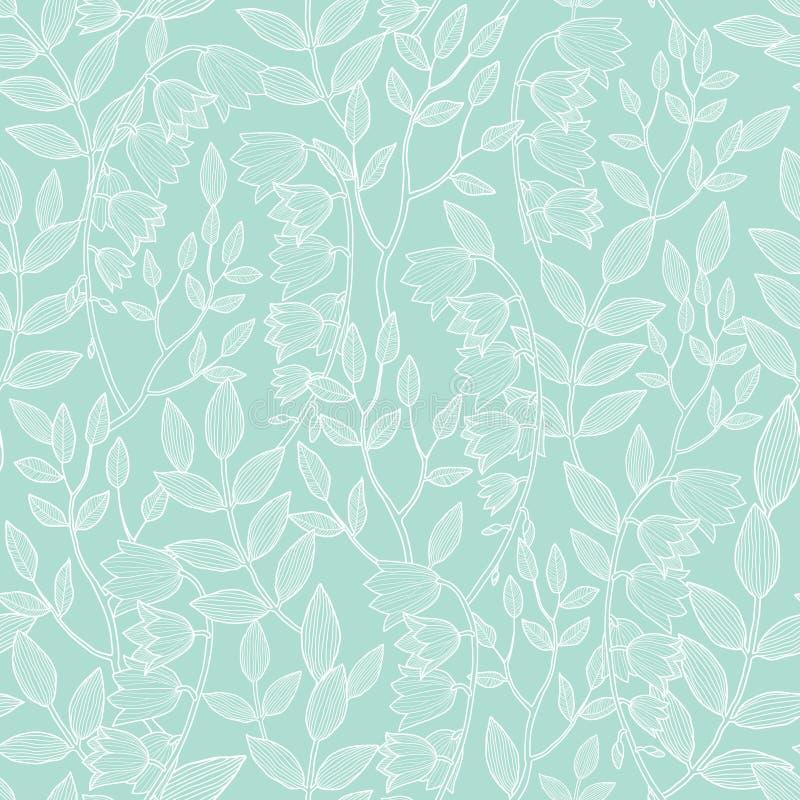 Modell för blom- textur för vektormintkaramellgräsplan sömlös royaltyfri illustrationer