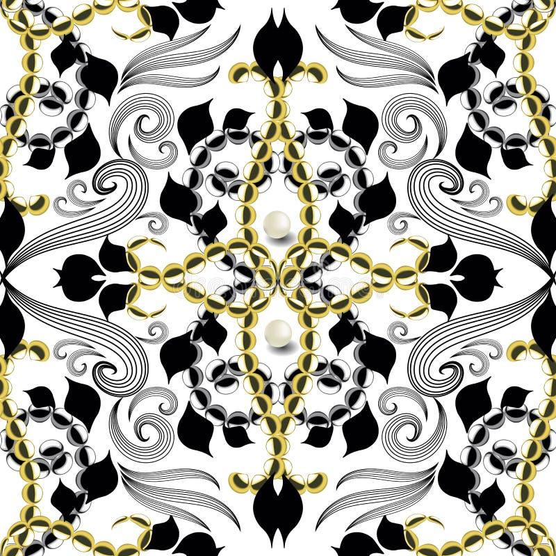 Modell för blom- vektor för tappningarabesquestil sömlös Damast dekorativ vit bakgrund med guld- pärlor, pärlor som 3d är svarta vektor illustrationer