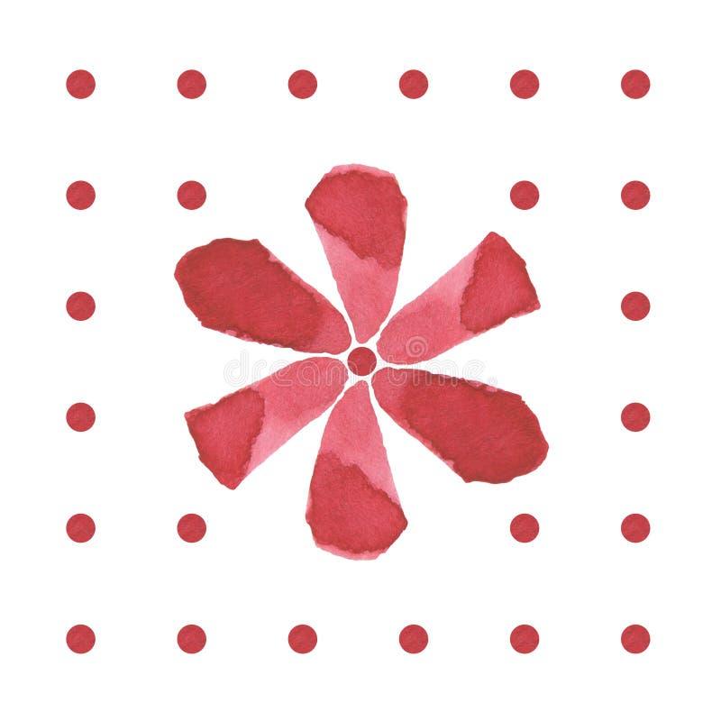 Modell för blomma för borste för handteckningsvattenfärg röd royaltyfri illustrationer