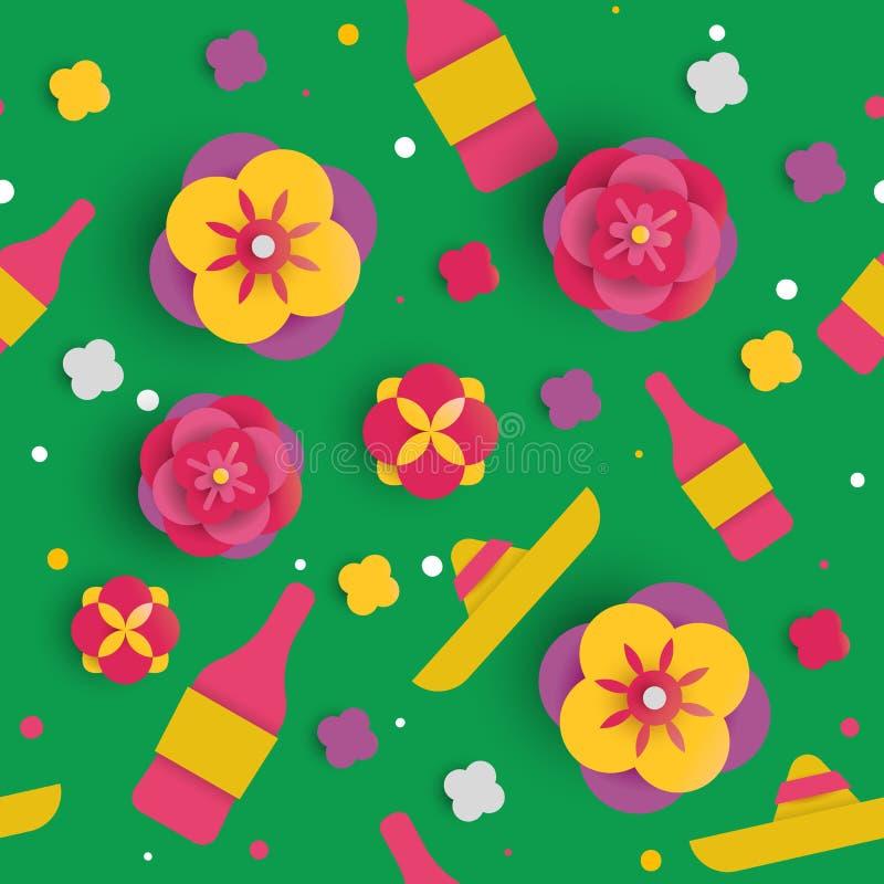 Modell för blomma för Cinco de mayo papperskonst sömlös vektor illustrationer